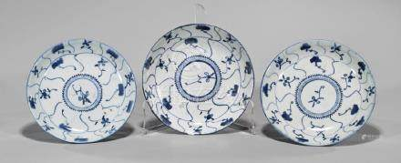 Three Antique Chinese Blue & White Porcelain Dishes