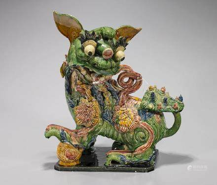 Large Chinese Glazed Pottery Fo Lion