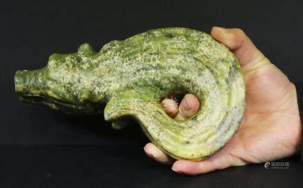 Handcarved green jade statue of crocodile. 1850 AD 1,7