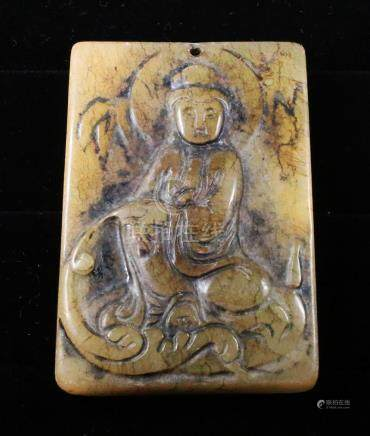 Handcarved jade plaque with seated Guanyin Buddha 1920
