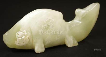 China Handcarved fish Jade Statue. BeiJing 101 gr.