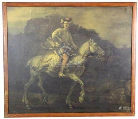 ANTIQUE RIDER ON HORSEBACK ILLEGEBLY SIGHED OOB