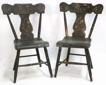 AMERCIAN ANTIQUE STENCIL BACK SIDE CHAIRS
