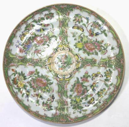 CHINESE ANTIQUE ROSE MEDALLION CABINET PLATE