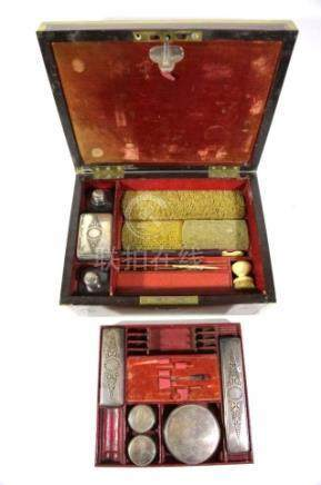 ENGLISH ANTIQUE ROSEWOOD BRASS INLAID VANITY CASE