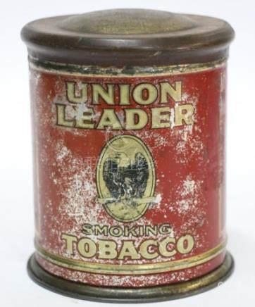 UNION LEADER ANTIQUE TOLE TIN STORE TOBACCO BIN