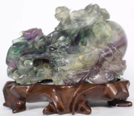 CHINESE JADE AMETHYST PASSION FRUIT VESSEL CARVING