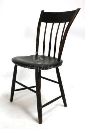 AMERCIAN ANTIQUE HAND PEGGED PAINT SIDE CHAIR