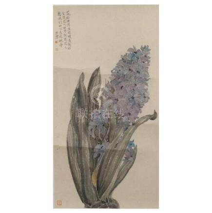 Contemporary Chinese flower painting by Pang Cong. Ink and b