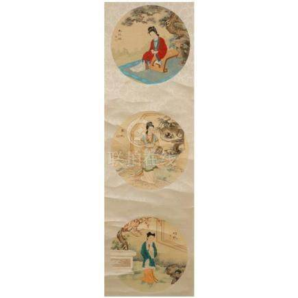 Chinese watercolor scroll depicting women from the famous no