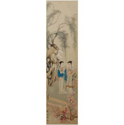 Liu Pei Jing (Chinese, late Qing Dynasty) female figures on