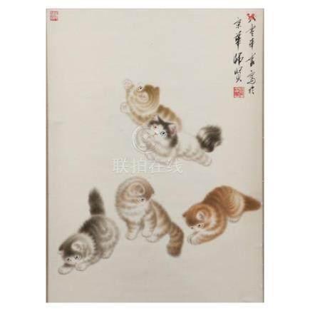 Honglin Jiang, (Chinese, 20th Century) playful cats watercol