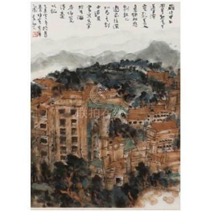 Xiangxi, Hunan cityscape contemporary Chinese scroll paintin