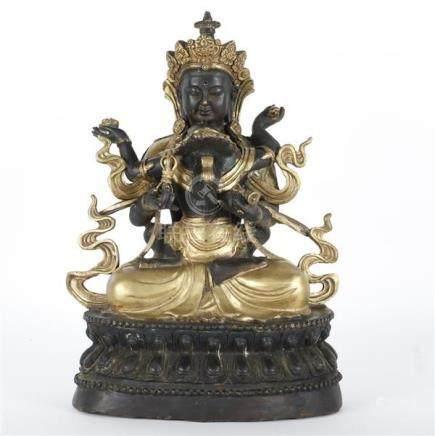 Tibetan cast parcel gilt bronze Buddhist sculpture group dep