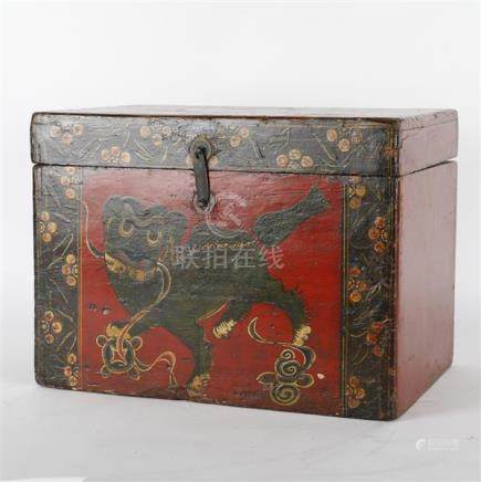 Chinese red lacquer chest with pictorial foo dog and gilt bo