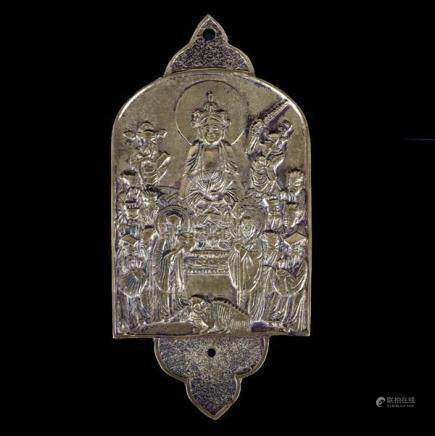 Chinese cast bronze Buddhist plaque stele or tablet depictin