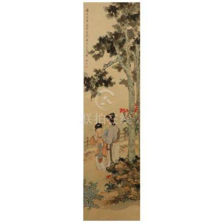 Jie Liang, (Chinese, late Qing Dynasty) female figures in a