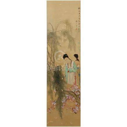 Shenghua Rong, (Chinese, late Qing Dynasty) female figures i