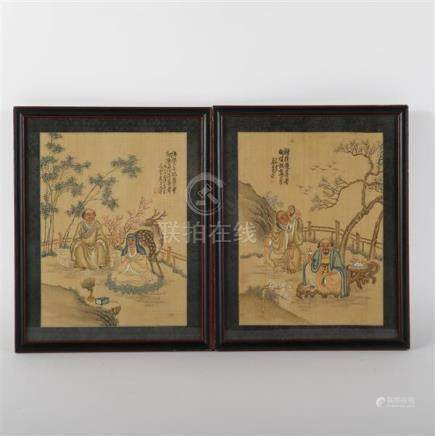 Pair antique Chinese Daoist paintings on silk.