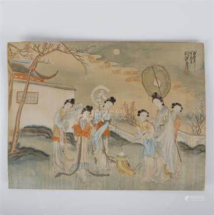 Yuanshi Zhou, (Chinese, Qing Dynasty), women figures in a la
