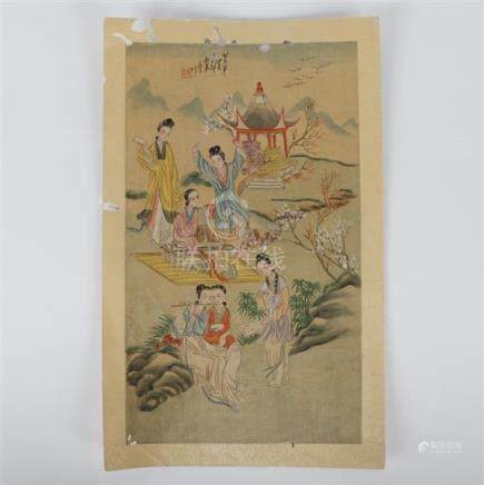 Ze Lin, (Chinese, Qing Dynasty), women figures in a landscap