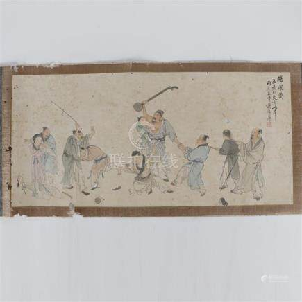 Chinese watercolor painting depicting figures in a Boisterou