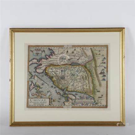 Ortelius map of China c.1584, copper-engraved map, hand-colo
