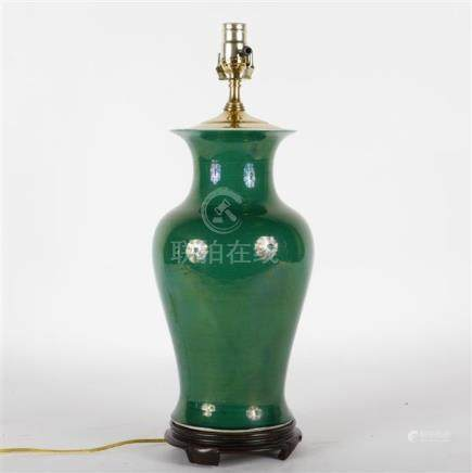 Chinese porcelain green glaze baluster vase converted as a l