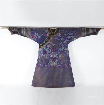 Chinese Qing dynasty kesi jifu silk dragon robe.