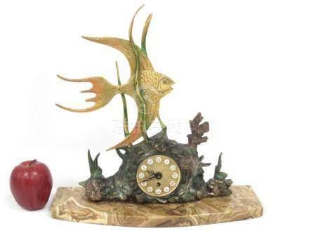 DESIGNER POLYCHROME BRONZE ANGEL FISH FIGURAL CLOCK ON AGATE