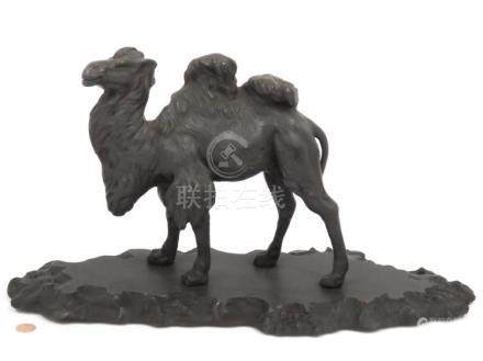 "FINE CARVED WOOD CAMEL, C.1910. HEIGHT 10 1/4""; LENGTH 18 1/"