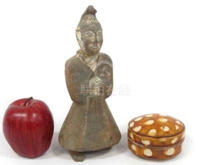 LOT (2) CHINESE TANG POTTERY INCLUDING SANCAI CARVED JAR, DI