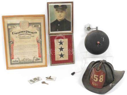 LOT ASSORTED NY FIREMAN ITEMS INCLUDING VINTAGE LEATHER FIRE