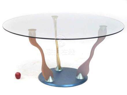 PETER HANDLER STUDIO STAINLESS STEEL/PLATE GLASS TABLE. HEIG