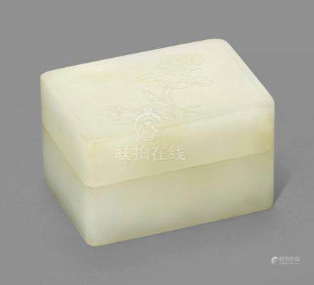 A WHITE JADE RECTANGULAR BOX AND COVER