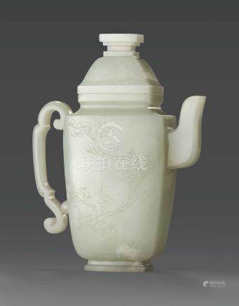 A RARE WHITE JADE ''THREE FRIENDS OF WINTER'' EWER AND COVER