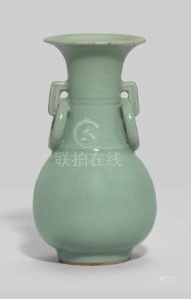 A LONGQUAN CELADON-GLAZED PEAR-SHAPED VASE