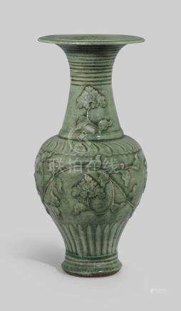 A LARGE MOULDED AND CARVED CELADON 'PHOENIX TAIL' VASE