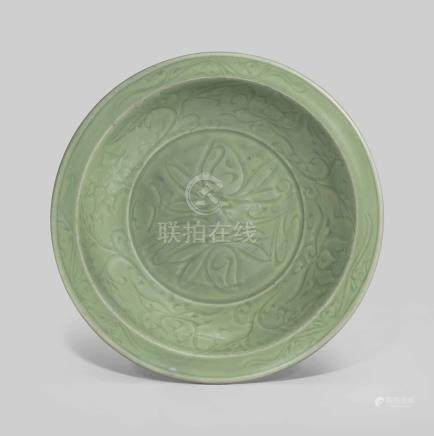A LONGQUAN CELADON 'LOTUS SPRAY' CHARGER