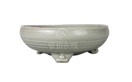 A Chinese grey stoneware Longquan celadon 'Bagua' censer, Ming dynasty, 16th century, heavily