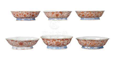 Six similar Chinese porcelain quatrilobed bowls, Tongzhi, painted in iron red with gourds and