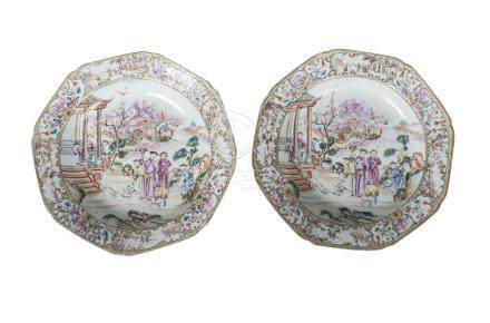 A pair of Chinese export porcelain octagonal plates, Qianlong period, painted in famille rose