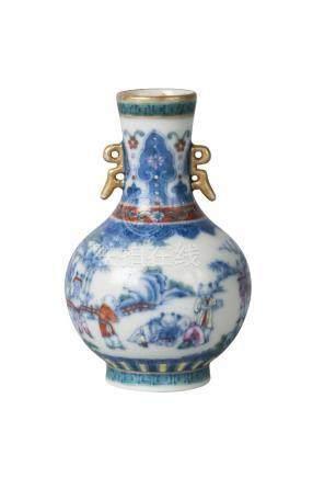 A Chinese porcelain doucai miniature bottle vase, Qianlong mark, late Qing Dynasty/Republic, painted