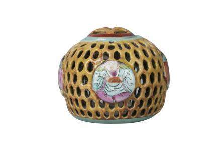 A Chinese porcelain reticulated censer and cover, mid 19th century, painted in famille rose