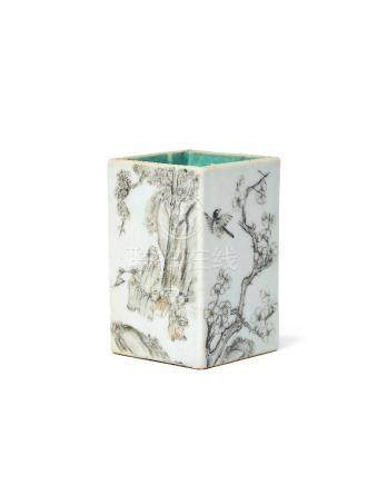 A Chinese porcelain square brush pot, mid-19th century, painted to each side en grisaille with a