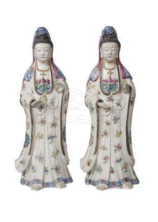 A pair of Chinese porcelain female figures, Qianlong period, painted in famille rose enamels with