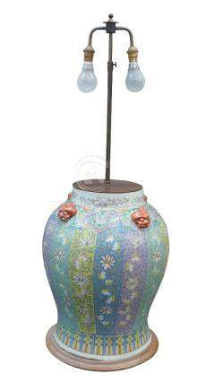 A large Chinese porcelain baluster vase, early 20th century, painted in famille rose enamels with