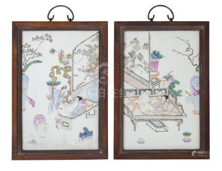 A pair of Chinese porcelain erotic plaques, Republic period, painted in famille rose enamels with