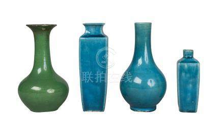 Four pieces of Oriental monochrome porcelain, 18th-19th century, comprising two Chinese turquoise
