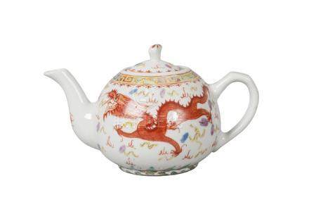 A Chinese porcelain teapot, 20th century, painted in famille rose enamels with a dragon and phoenix,